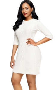 BY27692-1 White Cable Knit Fitted Sweater Dress